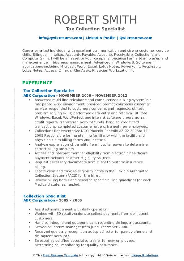 Tax Collection Specialist Resume Model