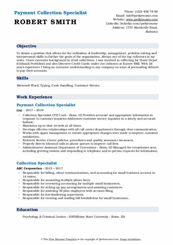 Payment Collection Specialist Resume Sample
