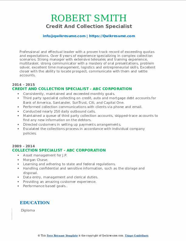 Credit And Collection Specialist Resume Example