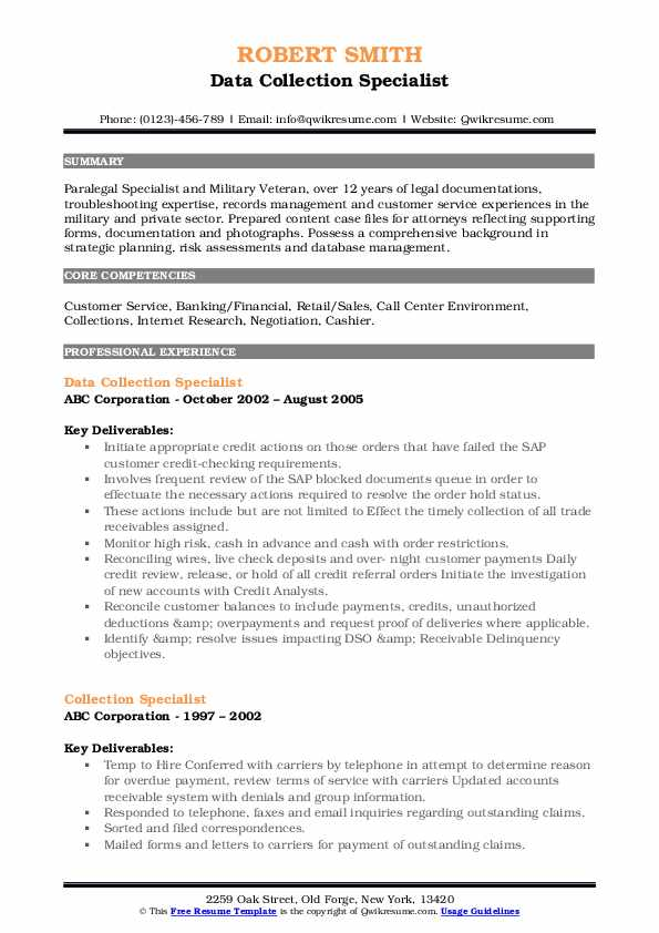 Data Collection Specialist Resume Example