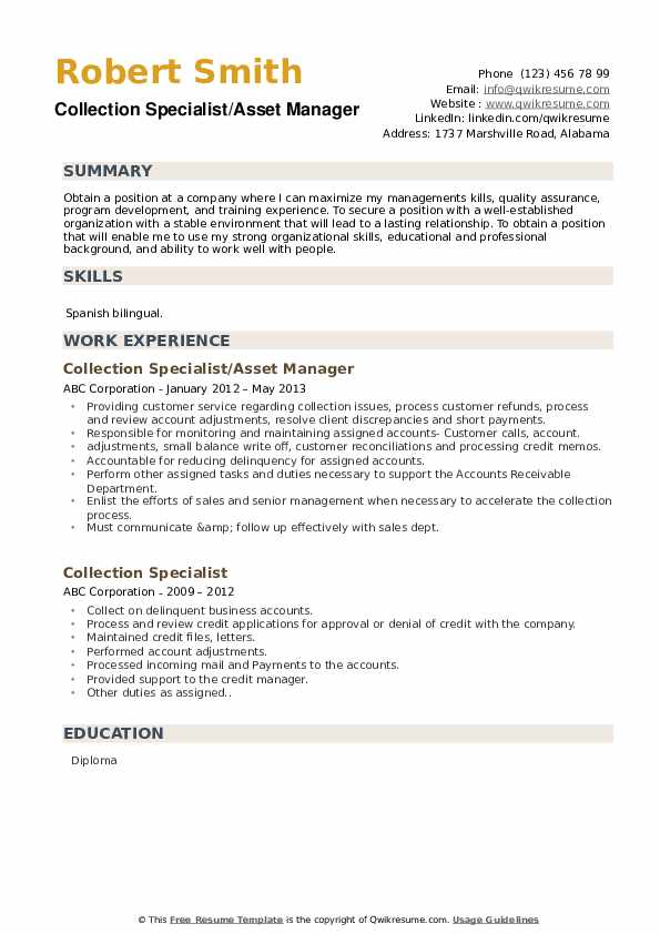 Collection Specialist/Asset Manager Resume Format