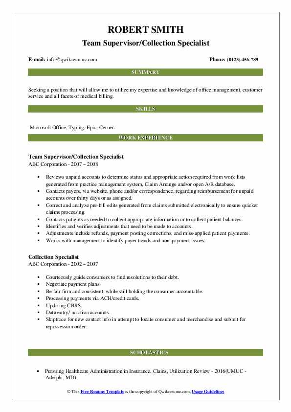 Team Supervisor/Collection Specialist Resume Sample