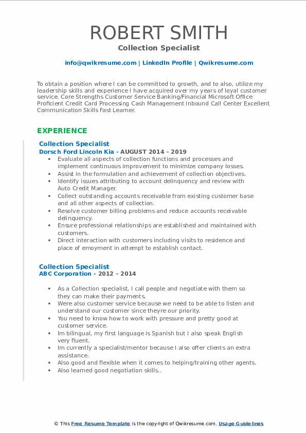 Collection Specialist Resume Samples Qwikresume