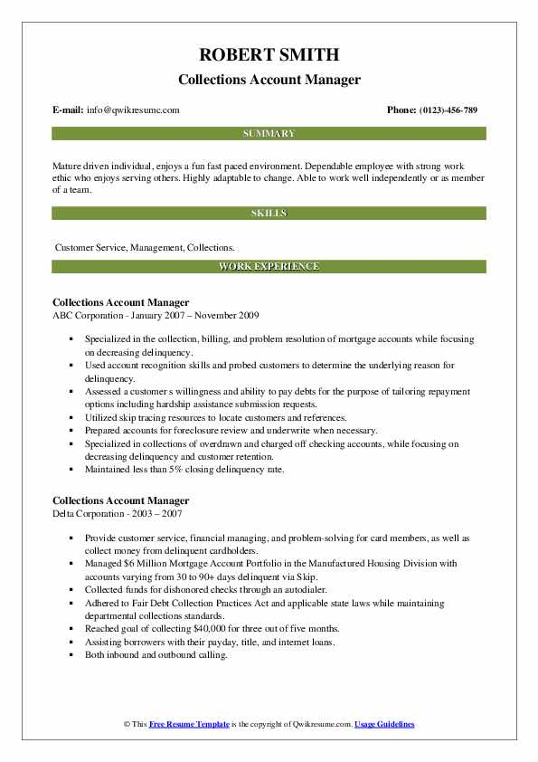 collections account manager resume samples  qwikresume