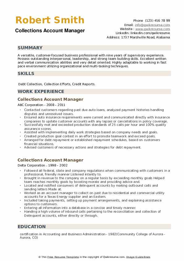 Collections Account Manager Resume example