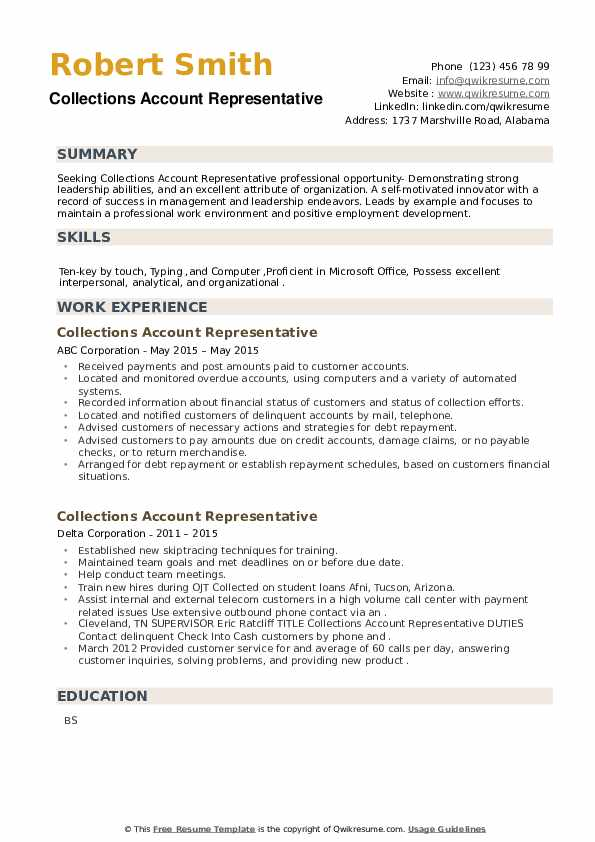 Collections Account Representative Resume example