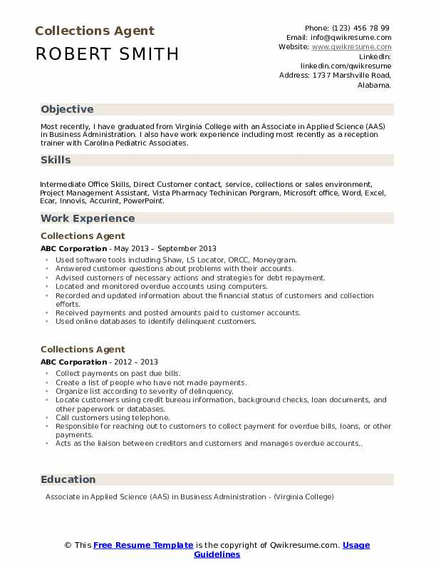 Collections Agent Resume Format