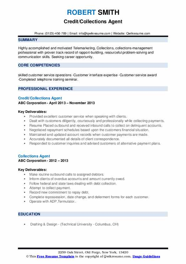Credit/Collections Agent Resume Example