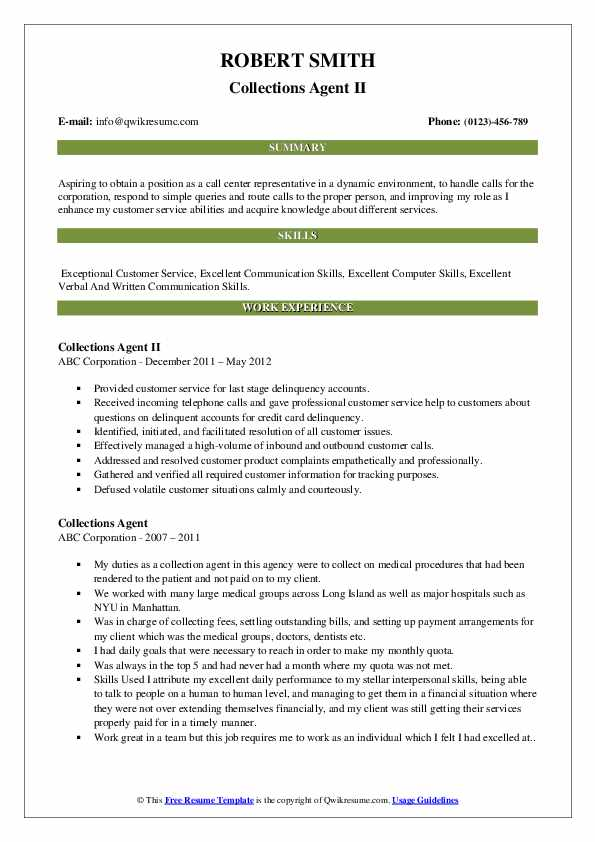 Collections Agent II Resume Sample