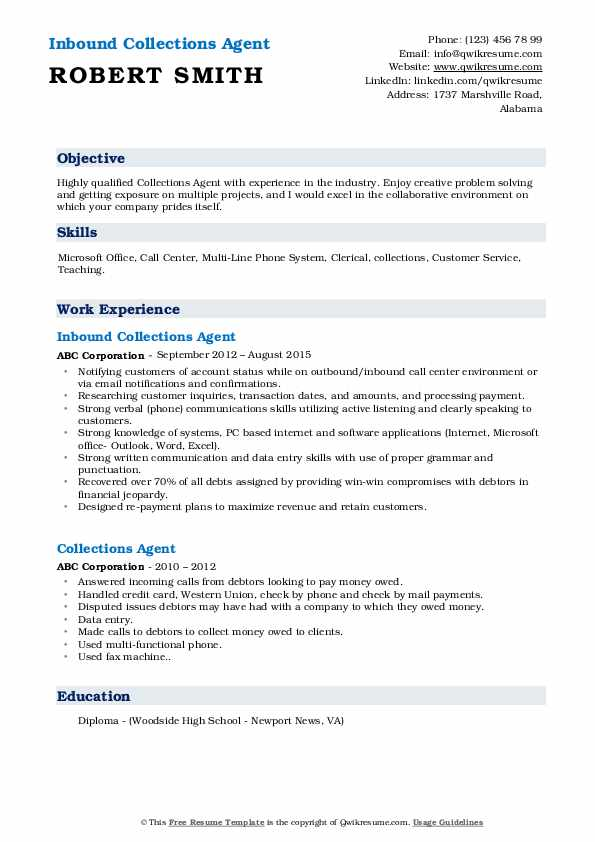 Inbound Collections Agent Resume Model