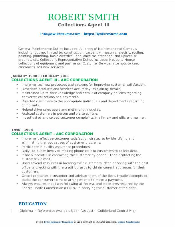 Collections Agent III Resume Example