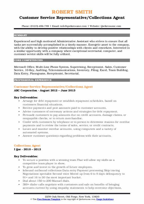 Customer Service Representative/Collections Agent Resume Example