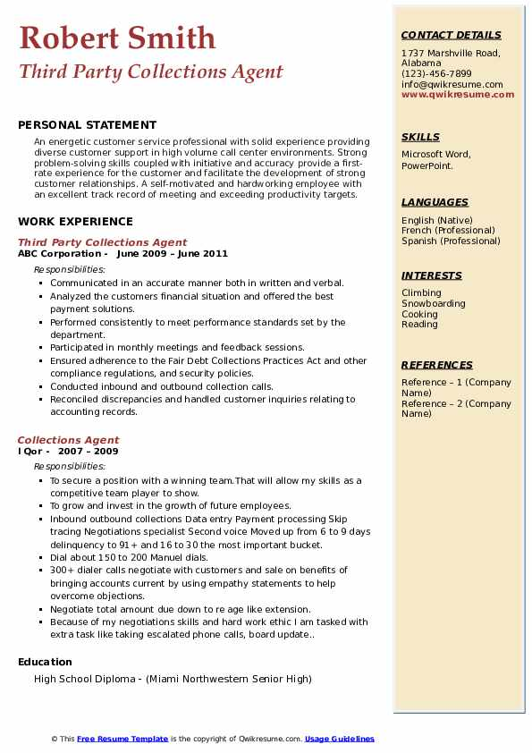 Third Party Collections Agent Resume Template