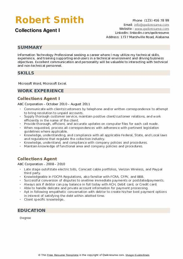 Collections Agent I Resume Example