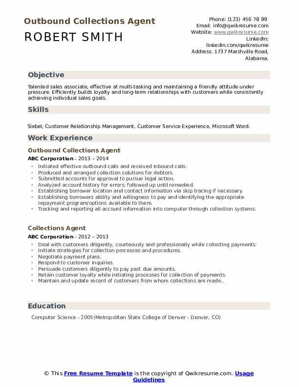 Outbound Collections Agent Resume Model