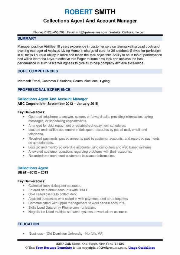Collections Agent And Account Manager Resume Model