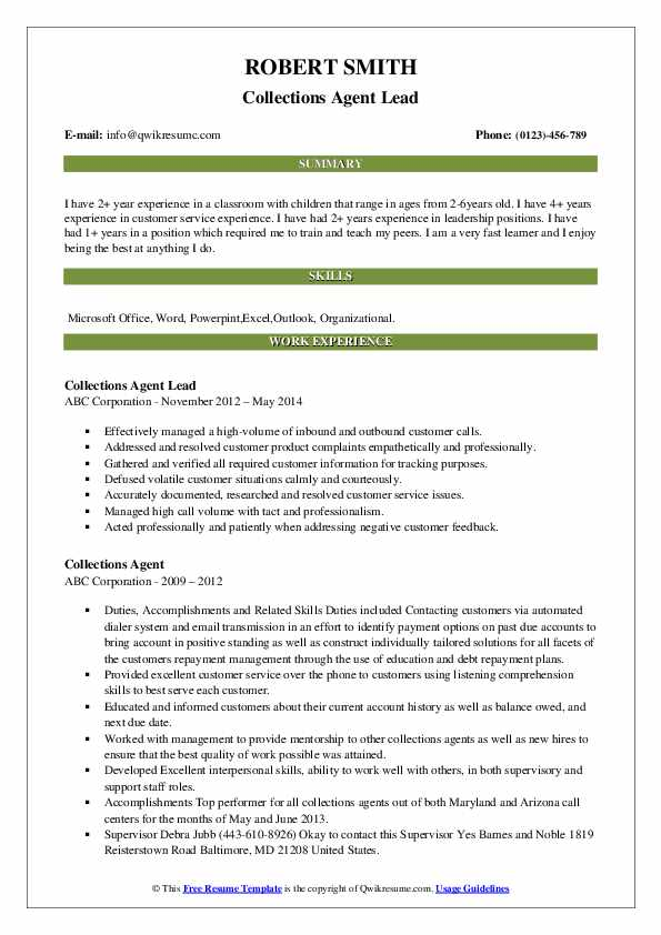 Collections Agent Lead Resume Example
