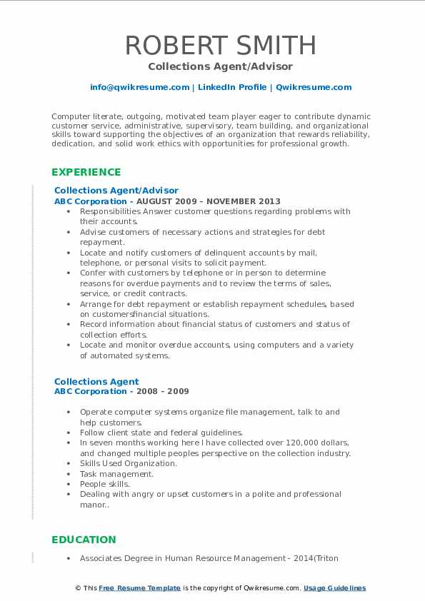 Collections Agent/Advisor Resume Template