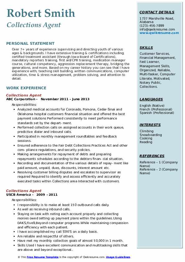 Collections Agent Resume Samples Qwikresume