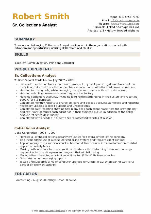 Collections Analyst Resume example