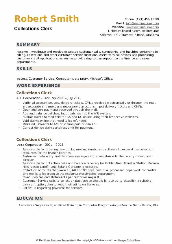 Collections Clerk Resume example