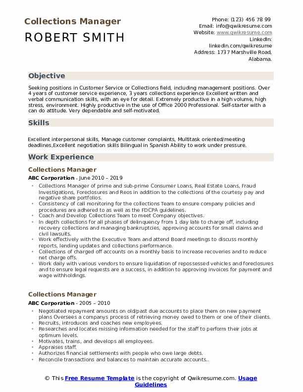 Collections Manager Resume Model