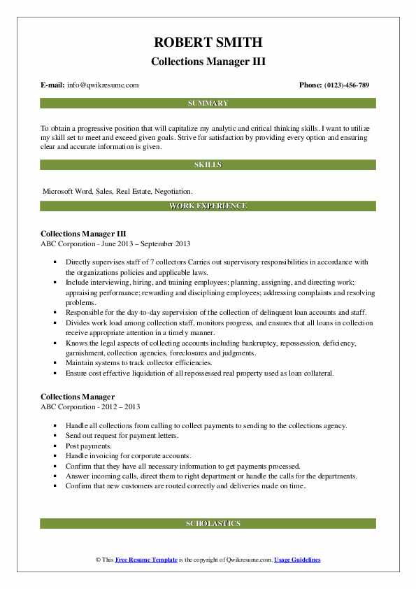 Collections Manager III Resume Sample