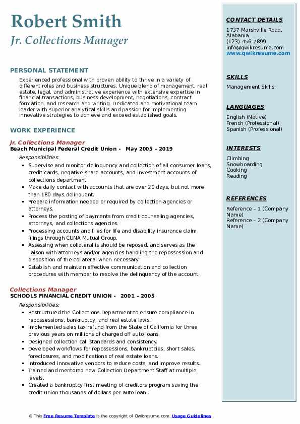 Jr. Collections Manager  Resume Format