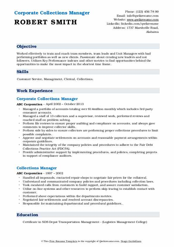 Corporate Collections Manager Resume Example