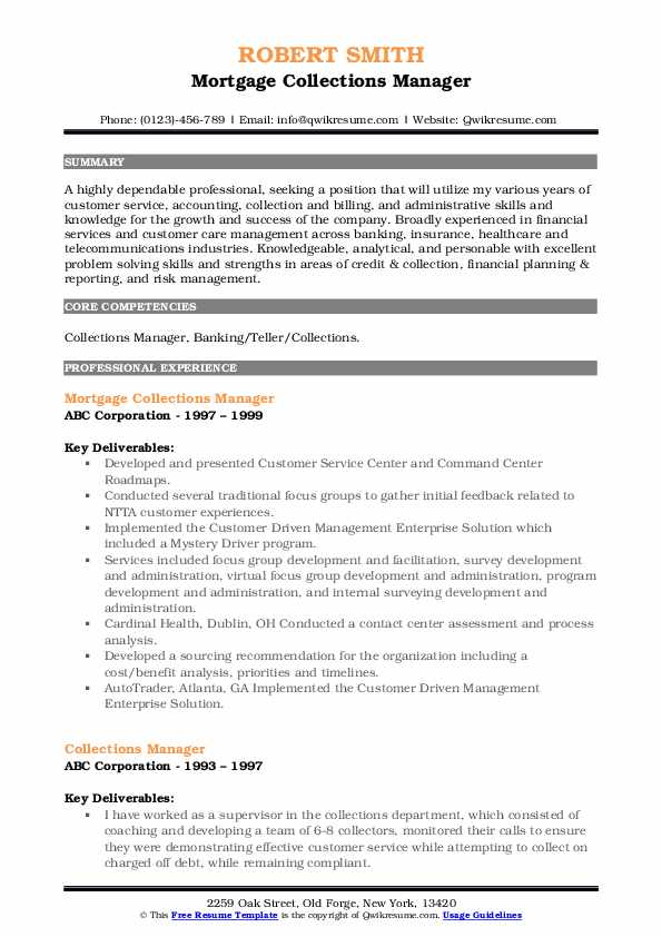 Mortgage Collections Manager Resume Model