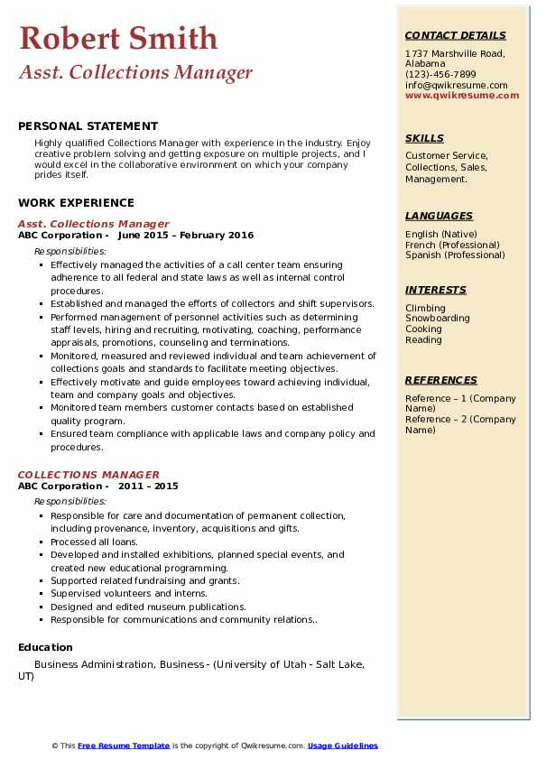 Asst. Collections Manager Resume Template