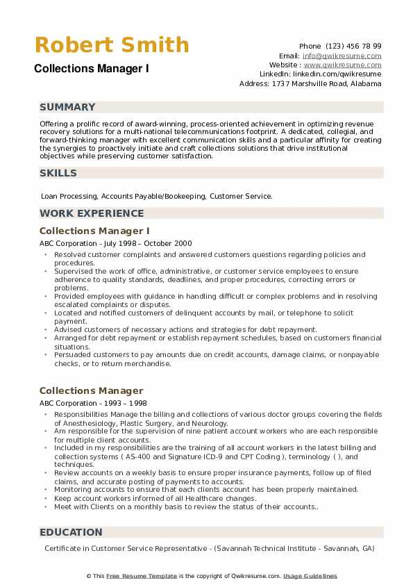 Collections Manager I Resume Format