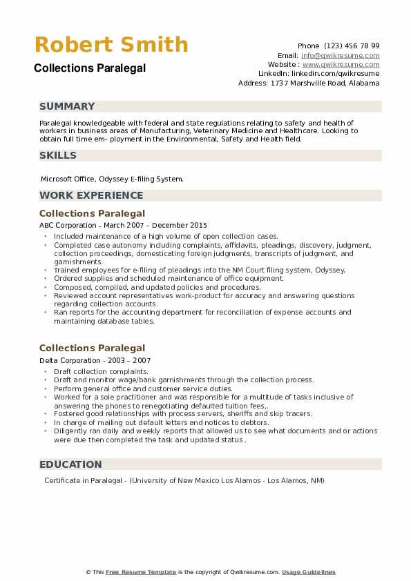 Collections Paralegal Resume example
