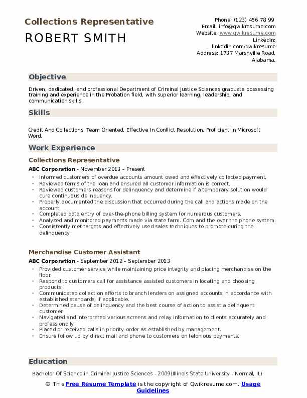 Collections Representative Resume Template