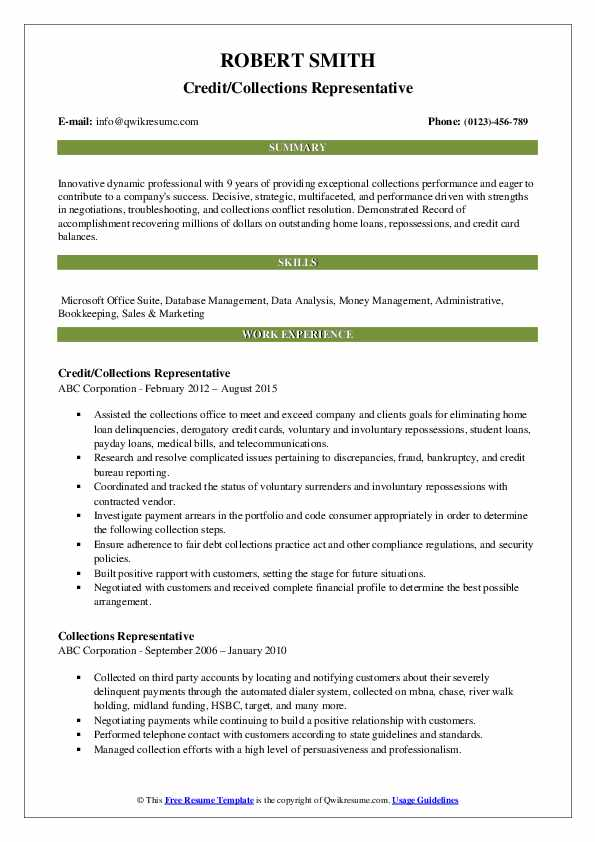 Credit/Collections Representative Resume Model