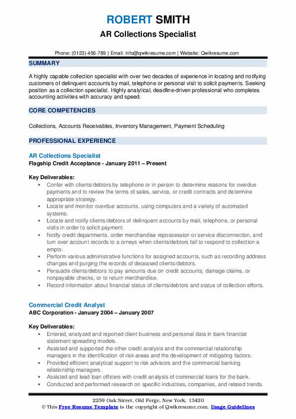 AR Collections Specialist Resume Sample
