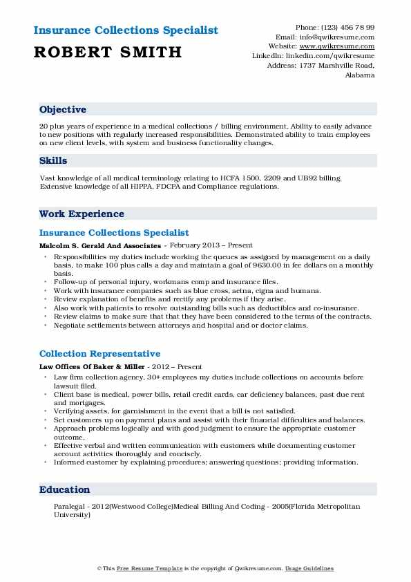 Insurance Collections Specialist Resume Format
