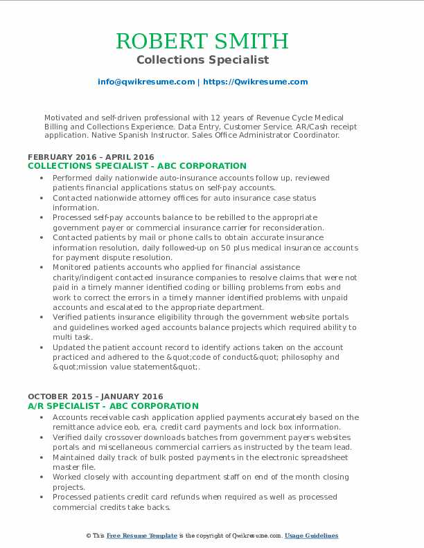 Collections Specialist Resume Model