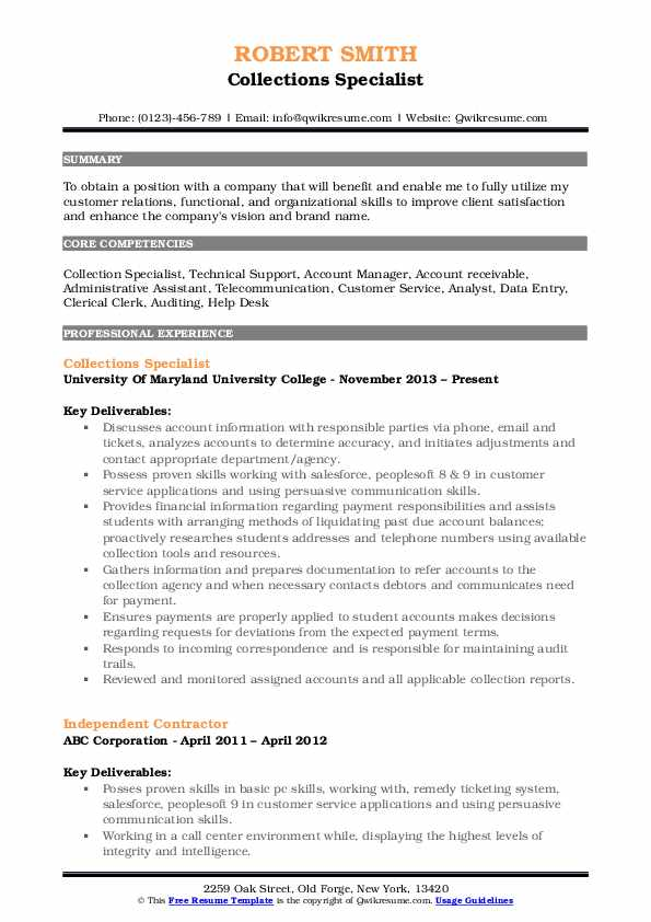 Collections Specialist Resume Template