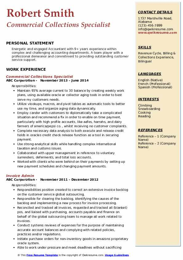 Commercial Collections Specialist Resume Template