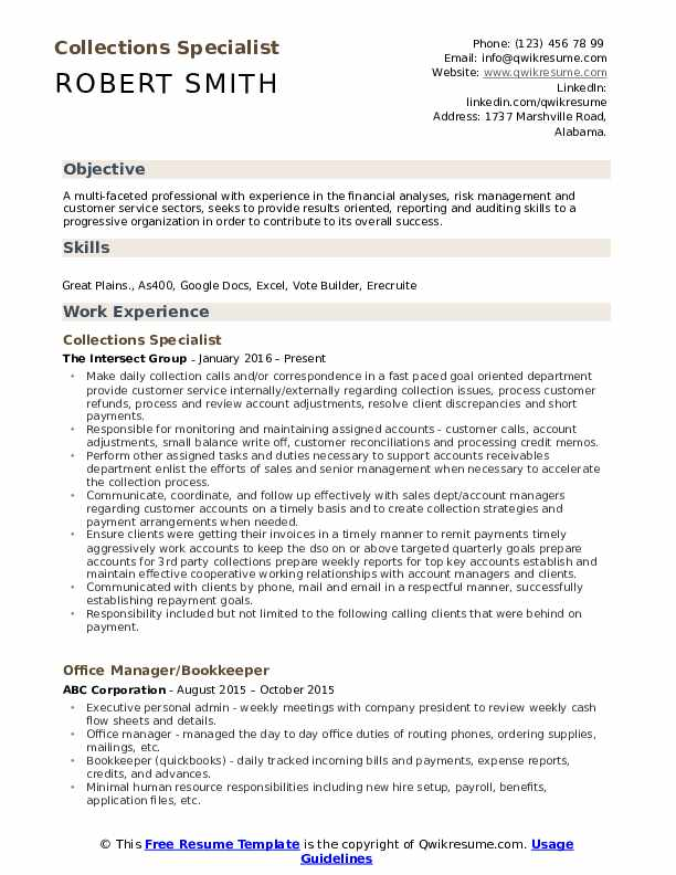 Collections Specialist Resume Example