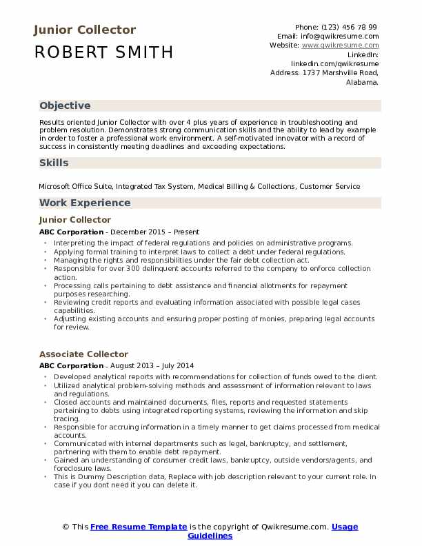 Junior Collector Resume Template