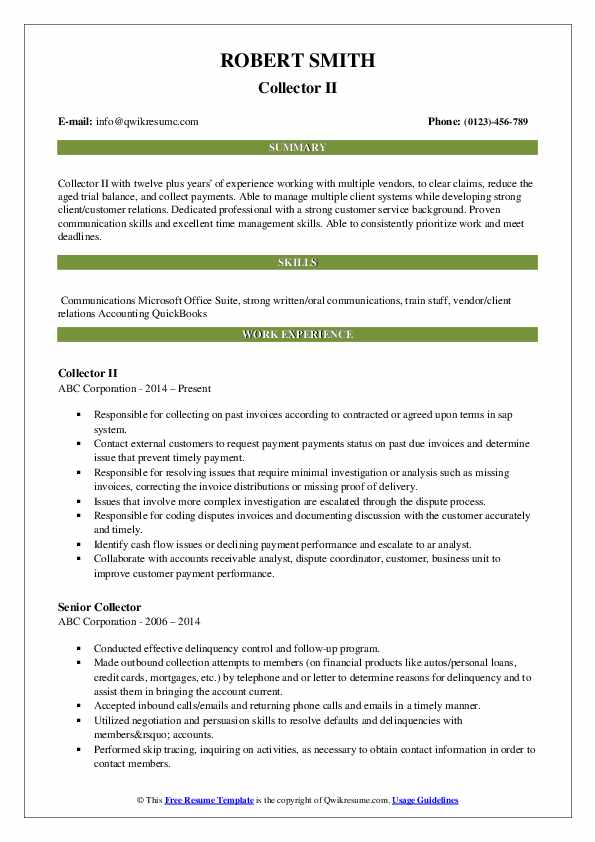 Collector II Resume Template