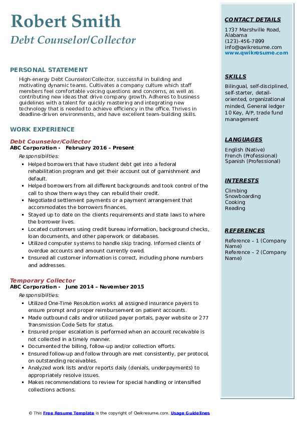 Debt Counselor/Collector Resume Example