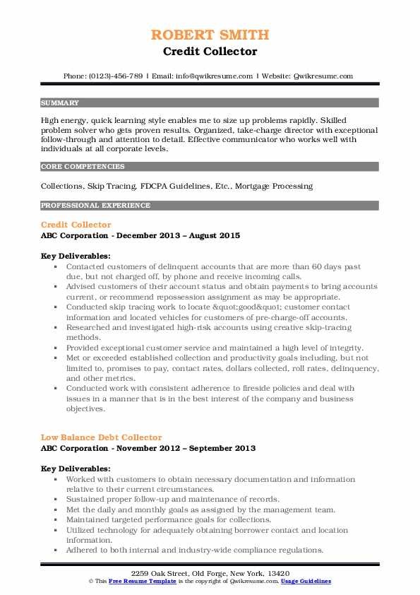 Credit Collector Resume Format