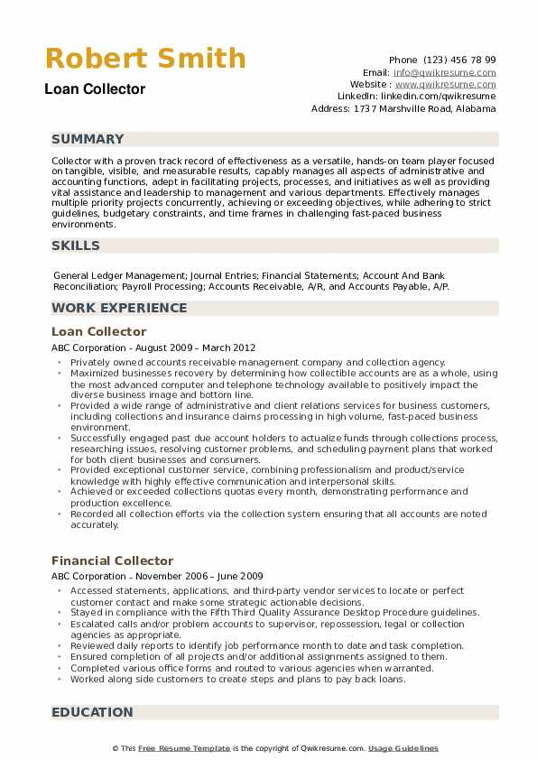 Collector Resume example