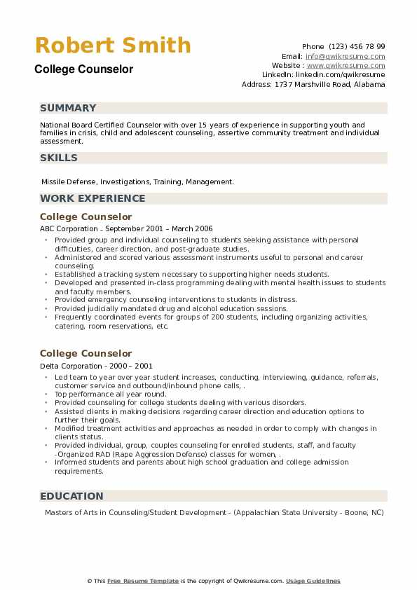 College Counselor Resume example
