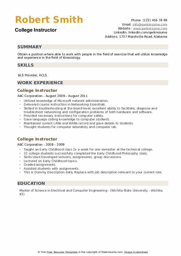 College Instructor Resume Samples Qwikresume