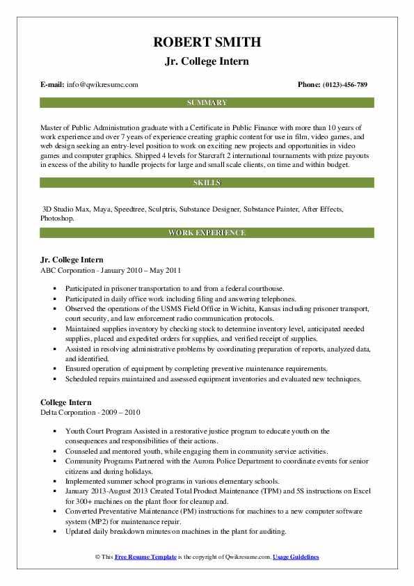 college intern resume samples  qwikresume