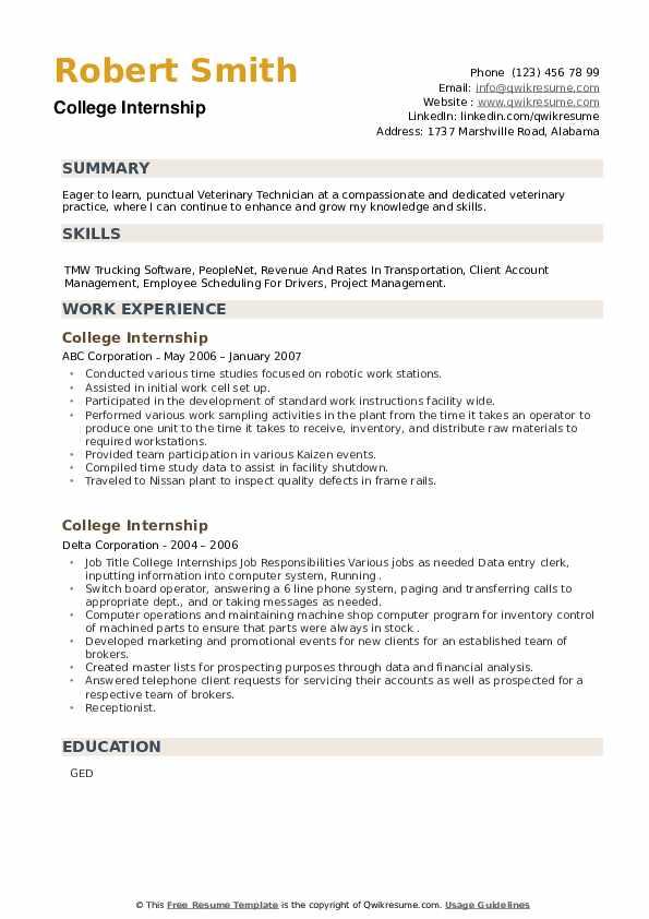 College Internship Resume example